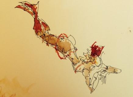 Leigh Ann Pfeiffer [SchemaFlows] 2014 Walnut ink, kohinor pen, watercolor, arches paper + super live l.a. model Xine