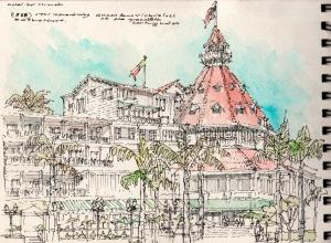 watercolor_pen + ink, on site sketch_building massing & articulation wood frame historic hotel