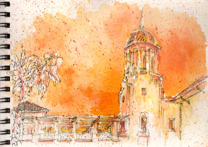 watercolors, kohinor pen, arches paper, wet+dry washes & spatter - on an uber hot san diego ca. day