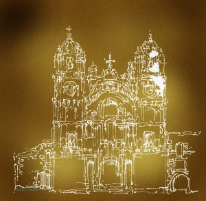 Iglesia de la Compania de Jesus [Cusco] archival pen+ ink on site sketch w/post production adobe photoshop   leigh a pfeiffer[SchemaFlows2014]