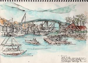 on site sketch during ferry ride San Diego to Coronado- leigh ann pfeiffer [SchemaFlows2014]